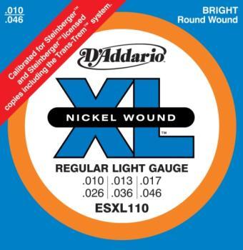 D'Addario ESXL110 Nickel Wound Electric Guitar Strings, Regular Light, Double Ball End, 10-46