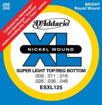 D'Addario ESXL125 Nickel Wound Electric Guitar Strings, Super Light Top/ Regular Bottom, Double