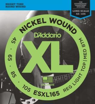 D'Addario ESXL165 Nickel Wound Bass Guitar Strings, Medium, 50-105, Double Ball End, Long Scale