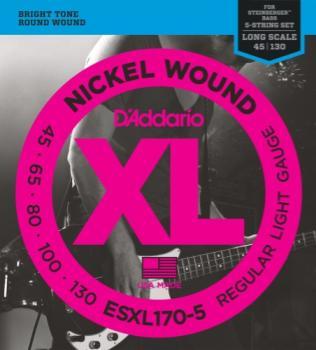 D'Addario ESXL170-5 Nickel Wound 5-String Bass Guitar Strings, Light, 45-130, Double Ball End, L