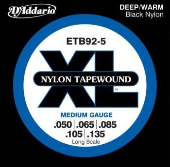 D'Addario ETB92-5 5-String Tapewound Bass Guitar Strings, Medium, 50-135, Long Scale
