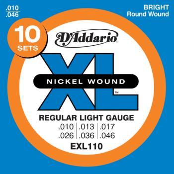 D'Addario EXL110-10P Nickel Wound Electric Guitar Strings, Regular Light, 10-46, 10 Sets