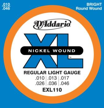 D'Addario XL, EXL110 Nickel Wound Electric Guitar Strings, Regular Light, 10-46