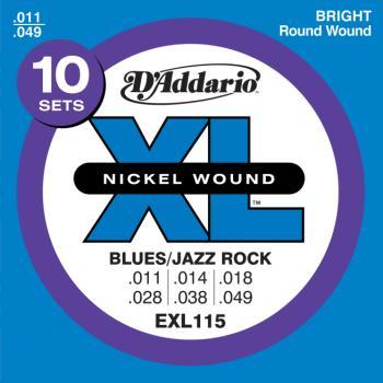 D'Addario EXL115-10P Nickel Wound Electric Guitar Strings, Medium/Blues-Jazz Rock, 11-49, 10 Set