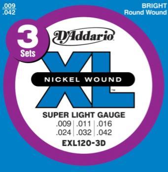 D'Addario  EXL120 Nickel Electric Super Light, 09-42, 3-Pack
