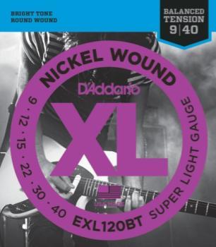 D'Addario EXL120BT Nickel Wound Electric Guitar Strings, Balanced Tension Super Light, 09-40