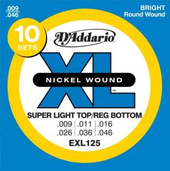 D'Addario EXL125-10P Nickel Wound Electric Guitar Strings, Super Light Top/Regular Bottom, 9-42,