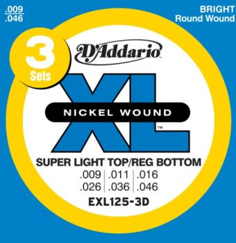 D'Addario EXL125-3D Nickel Wound Electric Guitar Strings, Super Light Top/Regular Bottom, 9-42,