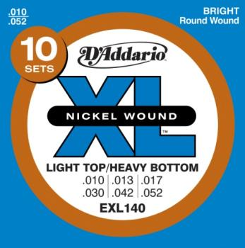 D'Addario EXL140-10P Nickel Wound Electric Guitar Strings, Light Top/Heavy Bottom, 10-52, 10 set