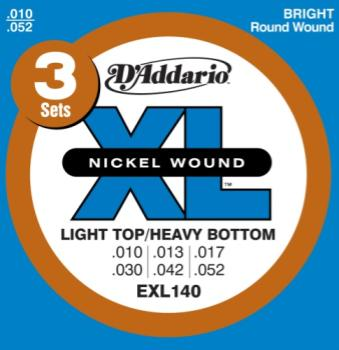 D'Addario EXL140-3D Nickel Wound Electric Guitar Strings, Light Top/Heavy Bottom, 10-52, 3 sets