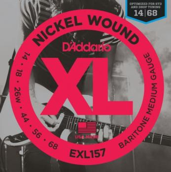 D'Addario EXL157 Nickel Wound Electric Guitar Strings, Baritone Medium, 13-62
