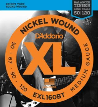 D'Addario EXL160BT Nickel Wound Bass Guitar Strings, Balanced Tension Medium, 50-120, Long Scale