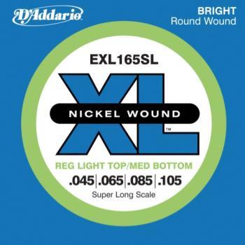 D'Addario EXL165SL Nickel Wound Bass Guitar Strings, Custom Light, 45-105, Super Long Scale