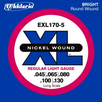DADDARIO EXL170-5 5-string Nickel Wound Bass Guitar Strings, Lt, 45-130, Long Scale