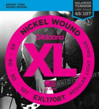 D'Addario EXL170BT Nickel Wound Bass Guitar Strings, Balanced Tension Regular Light, 45-107,