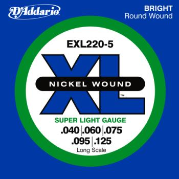 D'Addario EXL220-5 5-String Nickel Wound Bass Guitar Strings, Super Light, 40-125, Long Scale