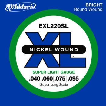 D'Addario EXL220SL Nickel Wound Bass Guitar Strings, Super Light, 40-95, Super Long  Scale