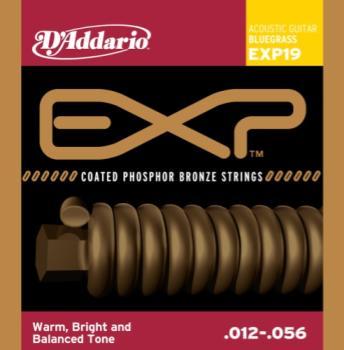 D'Addario  EXP19 Coated Phospher Bronze Acoustic, Bluegrass, 12-56