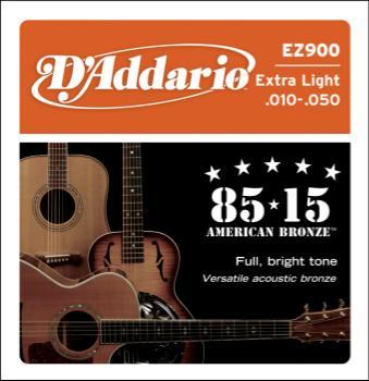 D'Addario EZ900 85/15 Bronze Acoustic Guitar Strings, Extra Light, 10-50
