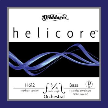 D'Addario Helicore Orchestral Bass Single D String, 3/4 Scale, Medium Tension H61234M