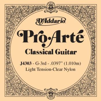 D'Addario J4303 Pro-Arte Nylon Classical Guitar Single String, Light Tension, Third String