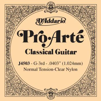 D'Addario J4503 Pro-Arte Nylon Classical Guitar Single String, Normal Tension, Third String