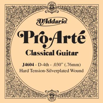 D'Addario J4604 Pro-Arte Nylon Classical Guitar Single String, Hard Tension, 4th String D