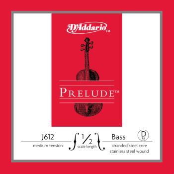 D'Addario Bow J61212M D'Addario Prelude Bass Single D String, 1/2 Scale, Medium Tension