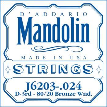 D'Addario J6203 80/20 Bronze Wound Mandolin Single String, .024