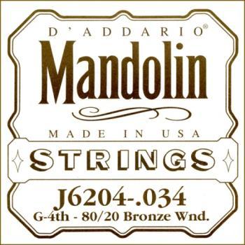 D'Addario J6204 80/20 Bronze Wound Mandolin Single String, .034