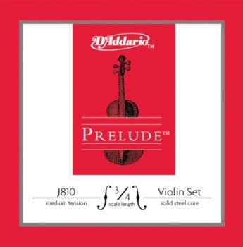 J810_3/4M D'Addario Prelude Violin String Set, 3/4 Scale, Medium Tension
