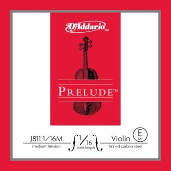 D'Addario J811116M Prelude Violin Single E String, 1/16 Scale, Medium Tension
