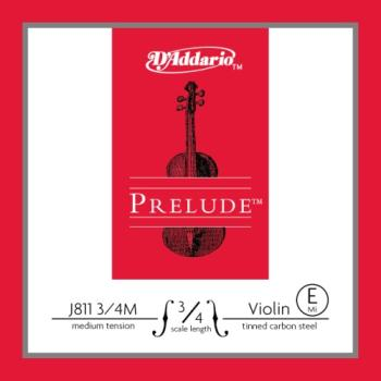D'Addario Prelude Violin Single E String, 3/4 Scale, Medium Tension