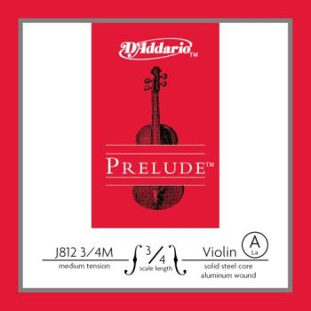 D'Addario Bow J81234M Prelude Violin Single A String, 3/4 Scale, Medium Tension