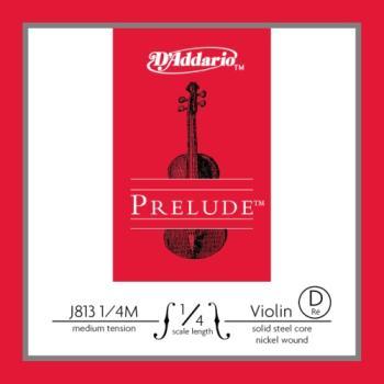 J813_1/4M D'Addario Prelude Violin Single D String, 1/4 Scale, Medium Tension