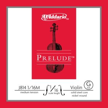 D'Addario J814116M Prelude Violin Single G String, 1/16 Scale, Medium Tension