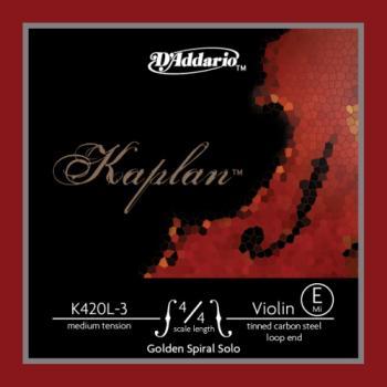 D'Addario D'Addario Kaplan Golden Spiral Solo Loop End Violin Single E String, 4/4 Scale, Medium Tension