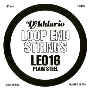 D'Addario LE016 Plain Steel Loop End Single String, .016