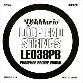 D'Addario LE038PB Phosphor Bronze Loop End Single String, .038