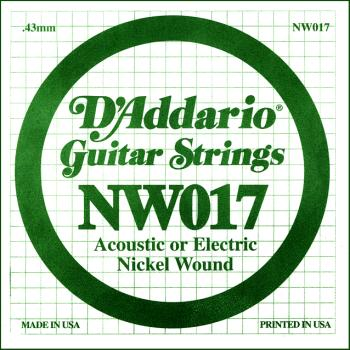 D'Addario NW017 Nickel Wound Electric Guitar Single String, .017