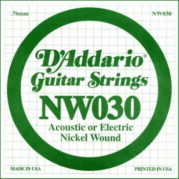 D'Addario NW030 Nickel Wound Electric Guitar Single String, .030