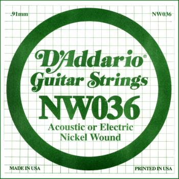 D'Addario NW036 Nickel Wound Electric Guitar Single String, .036