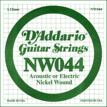 D'Addario NW044 Nickel Wound Electric Guitar Single String, .044