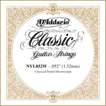 D'Addario NYL052W Silver-plated Copper Classical Single String, .052