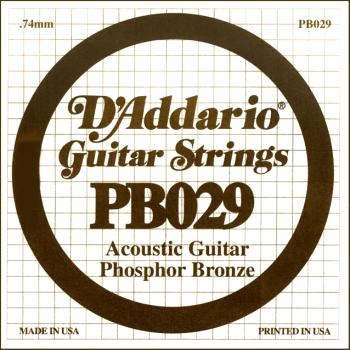 D'Addario PB029 Phosphor Bronze Wound Acoustic Guitar Single String, .029