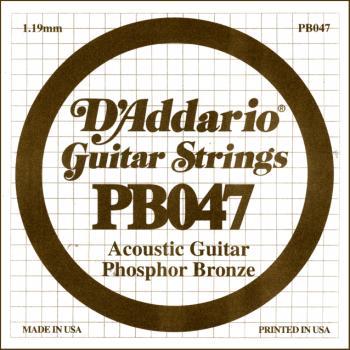 D'Addario PB047 PB Acoustic Guitar Single .047