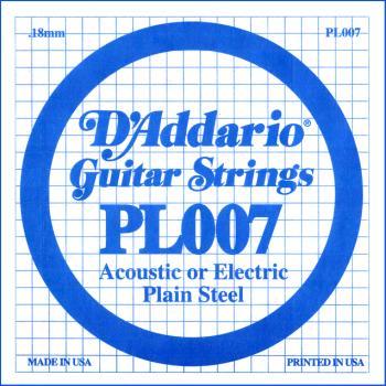 D'Addario PL007 Plain Steel Guitar Single String, .007