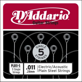 D'Addario PL011-5 Plain Steel Guitar Single String, .011 5-pack