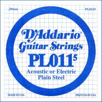 D'Addario PL0115 Plain Steel Guitar Single String, .0115