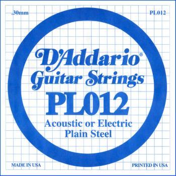 D'Addario PL012 Plain Steel Guitar Single .012